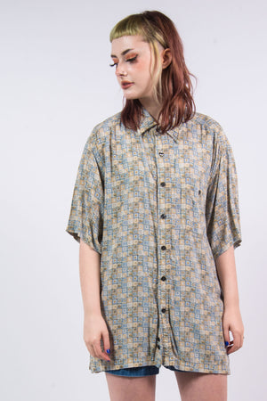 Vintage 90's Abstract Pattern Oversize Shirt