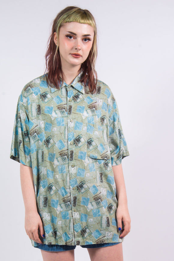 90's Vintage Green Abstract Pattern Shirt