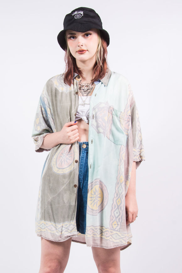 Vintage 90's Pastel Abstract Print Oversize Shirt
