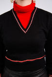 Vintage 70's Black and Red Roll Neck Cropped Jumper