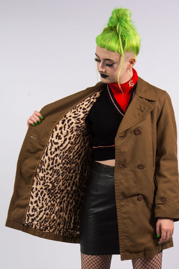 Vintage 90's Leopard Print Lined Trench Coat