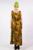 Vintage 90's Floral Palm Leaf Maxi Dress