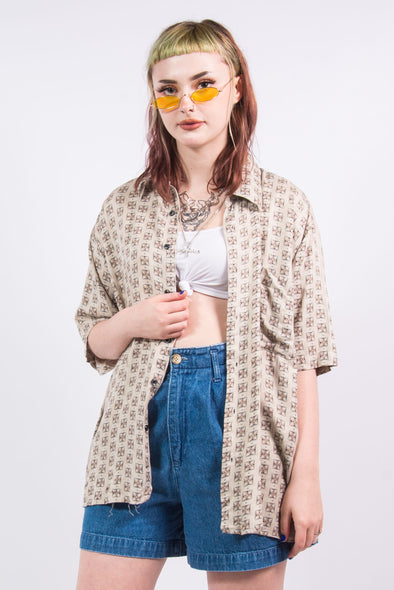 90's Vintage Beige Oversize Patterned Shirt
