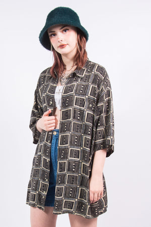 90's Vintage Abstract Print Oversize Shirt