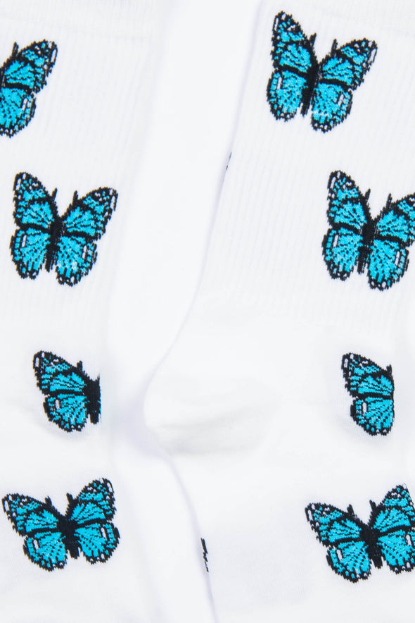 White & Blue Butterfly Socks