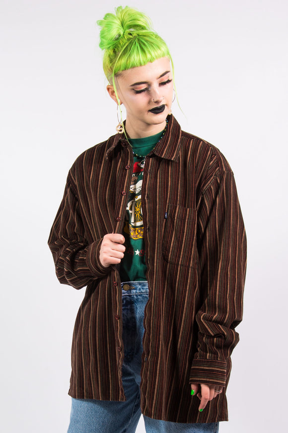 Vintage 90's Grunge Striped Cord Shirt