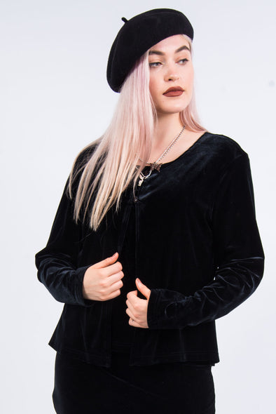 Vintage 90's Black Velvet Layered Top
