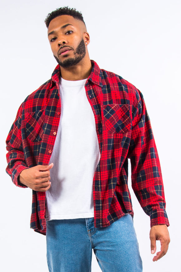 90's Red Checked Flannel Shirt