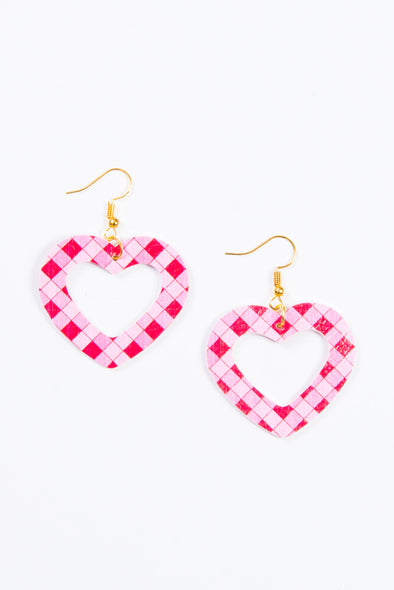 Cute Check Heart Earrings