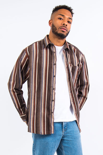Vintage Brown Stripe Cord Shirt