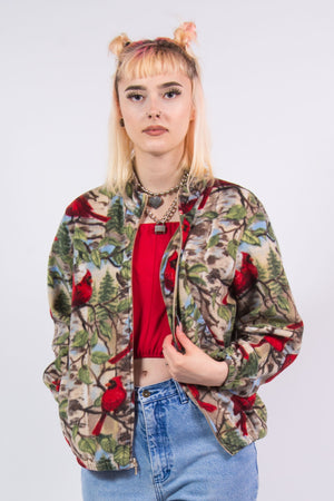 Vintage 90's Bird Print Fleece Jacket