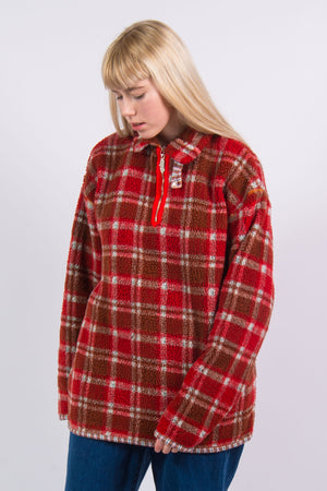 90's Vintage Quarter Zip Teddy Fleece