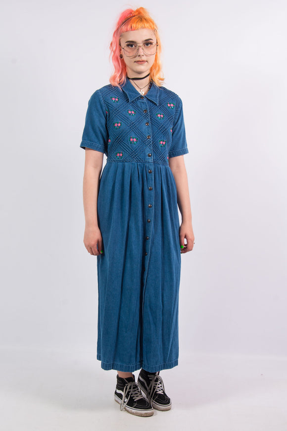 Vintage 90's Blue Denim Floral Maxi Dress