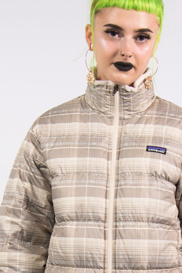 Vintage 90's Check Patagonia Puffer Jacket Coat