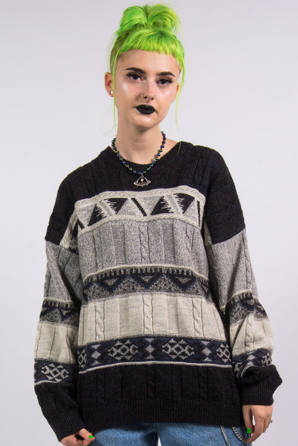Vintage 90's Grunge Black and Grey Knit Jumper