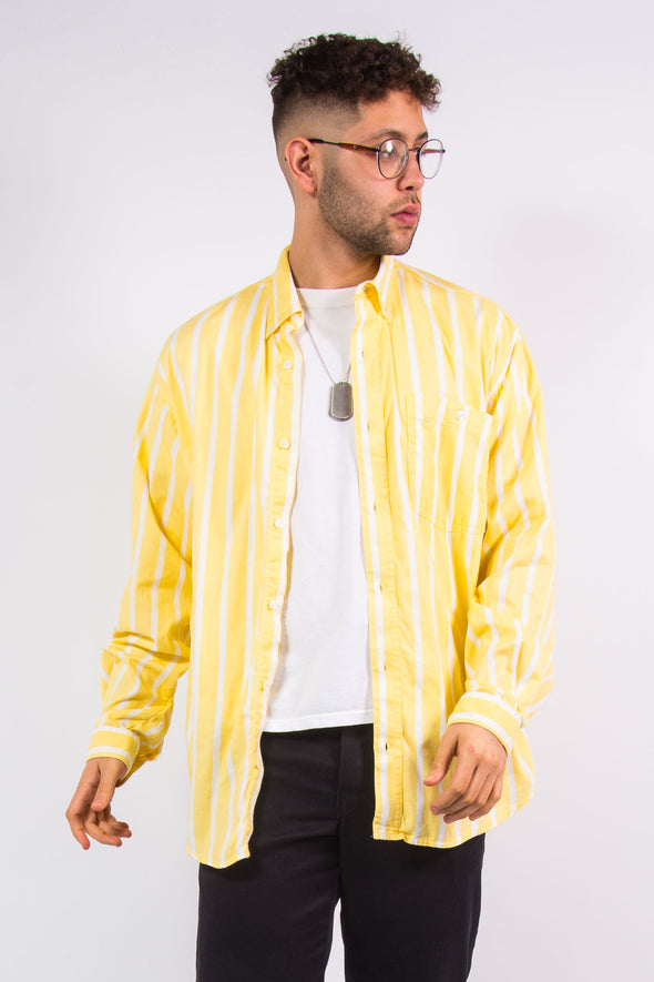 90s Yellow And White Striped Shirt