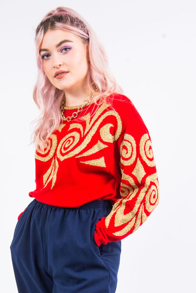 Vintage 90's Gold and Red Knit Jumper