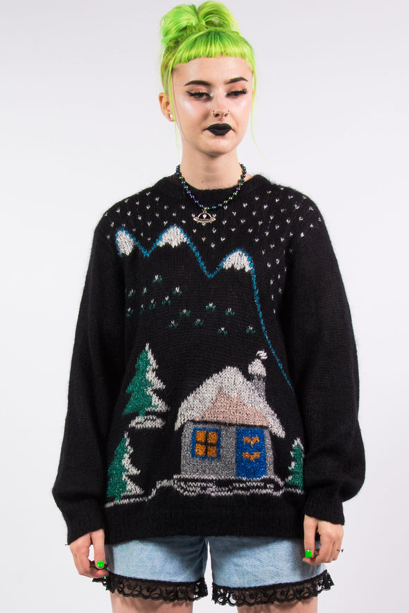 Vintage 90's Fluffy Winter Scene Jumper
