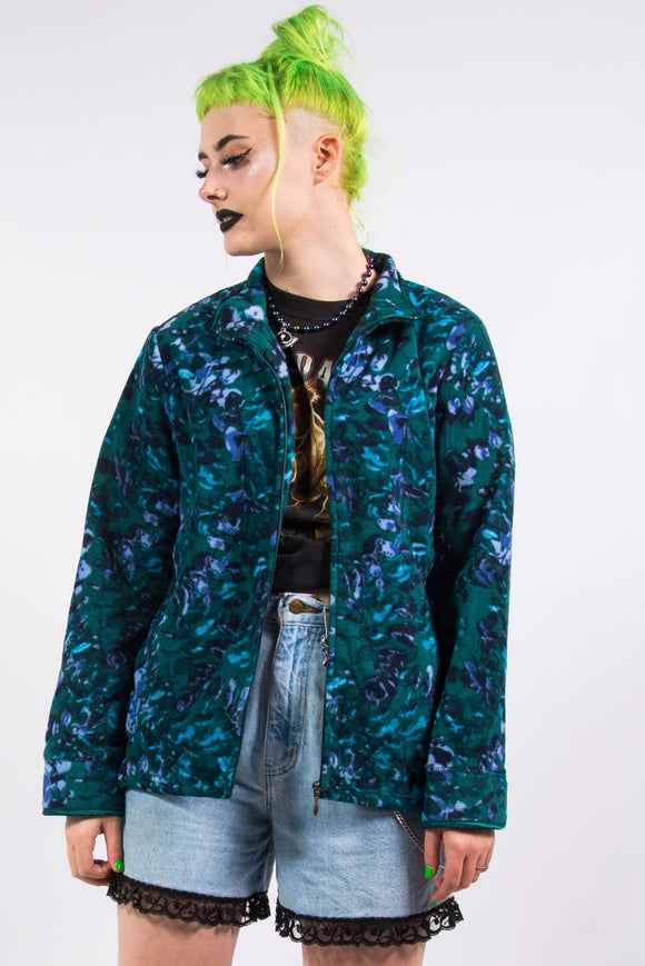 Vintage 90's Abstract Floral Zip Fleece Jacket