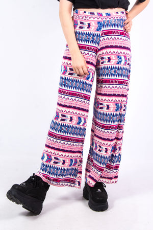 Vintage Boho Abstract Print Trousers