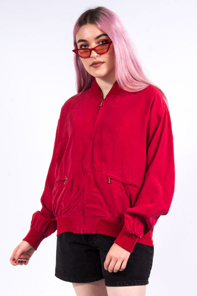 Vintage 90's Red Zip Bomber Jacket