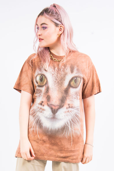 Vintage Tie Dye Cat Face T-Shirt