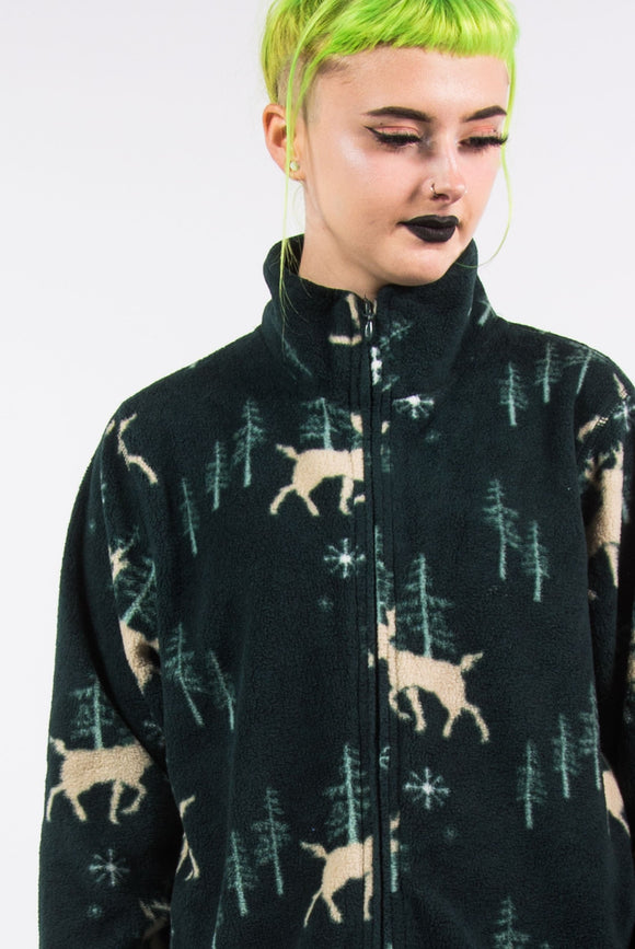 Vintage 90's Green Winter Print Fleece Jacket
