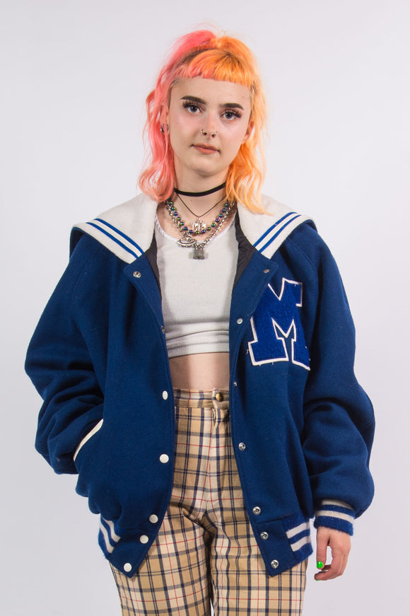 Vintage 80's Blue Wool Baseball Jacket