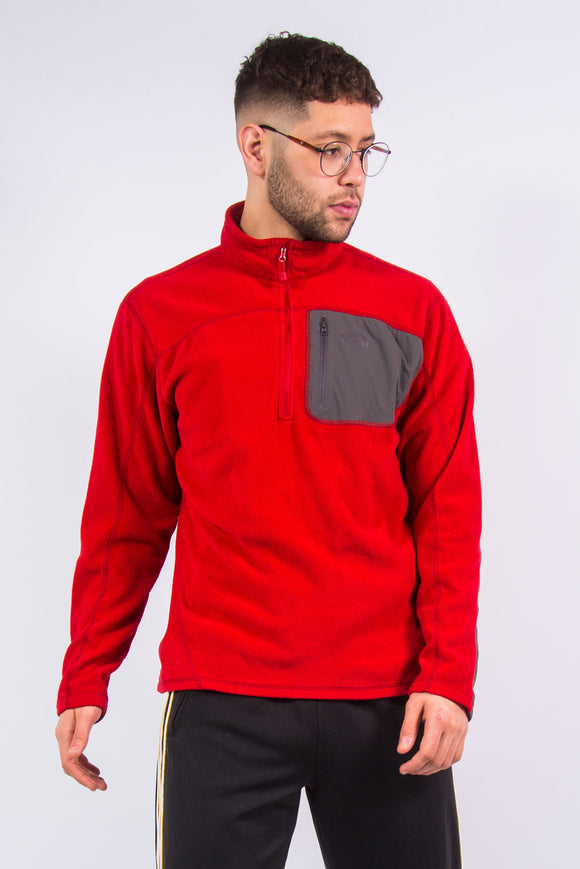 The North Face 1/4 zip red fleece
