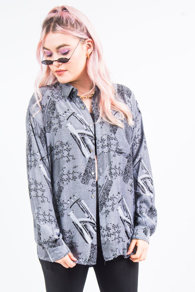 Vintage 90's Grey Abstract Print Shirt