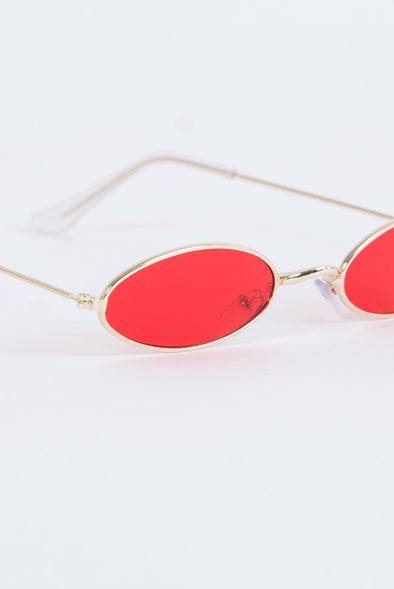 Y2K Rita Skinny Red Sunglasses - The Vintage Scene