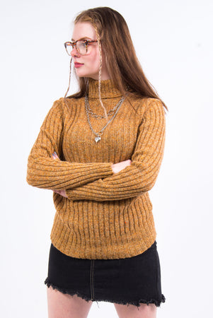 Vintage 70's Wool Roll Neck Ribbed Jumper