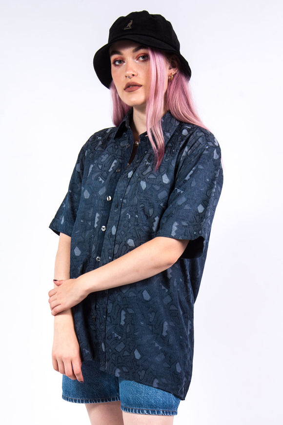 Vintage 90's Navy Abstract Print Shirt