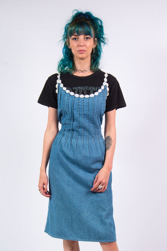 Vintage 90's Blue Denim Midi Dress