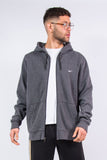 Nike zip fasten grey hoodie with white embroidered logo on chest