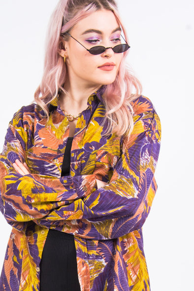 Vintage 90's Abstract Leaf Print Shirt