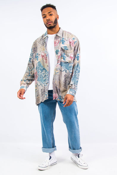 90's Vintage Floral Pattern Rayon Shirt