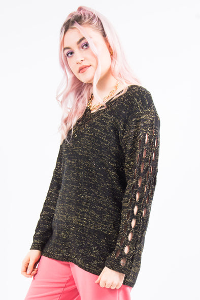 Vintage Glitter Knit Cut Out Jumper