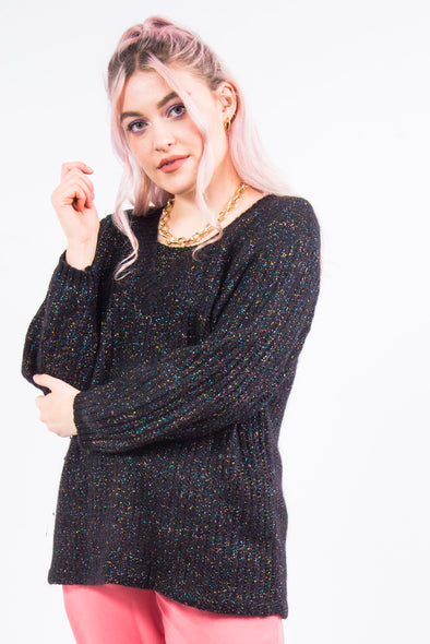 Vintage Glitter Knit V-Neck Jumper