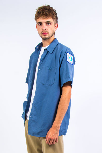 Vintage Blue USA Short Sleeve Work Shirt