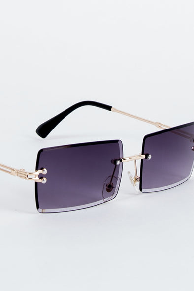 Y2K Lucie Black Rimless Sunglasses