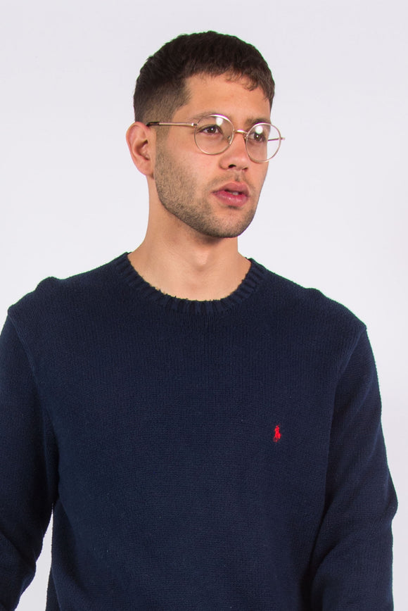 Ralph Lauren Blue Cotton Knit Jumper