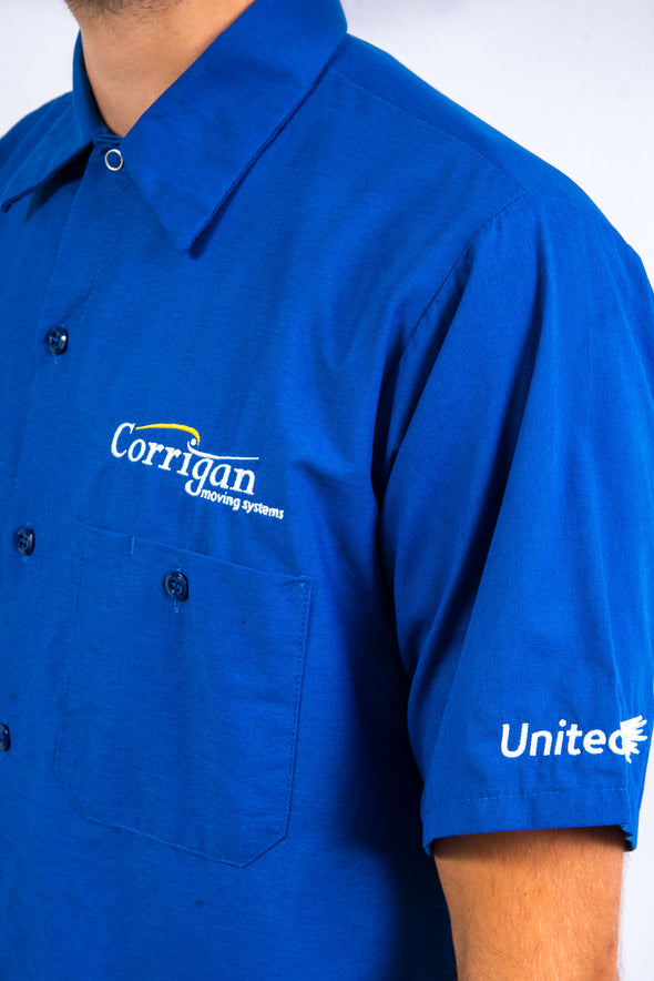 Vintage blue short sleeve Red Kap work shirt with Corringan Moving Sytems embroidered logo