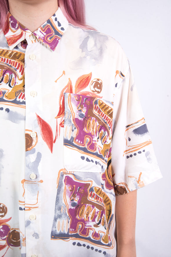 Vintage 90's Abstract Cat Print Shirt