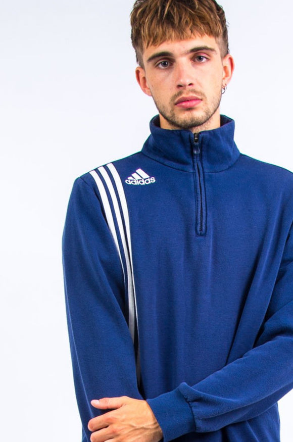 00's Adidas Three Stripe 1/4 Zip Sweatshirt