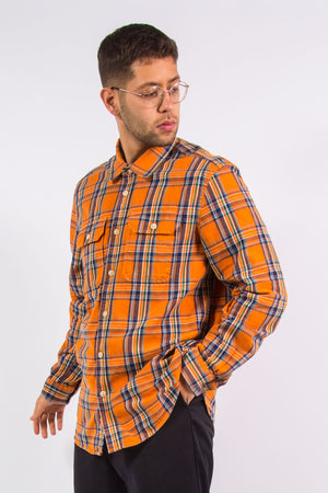 Eddie Bauer orange check pattern flannel shirt with chest pockets