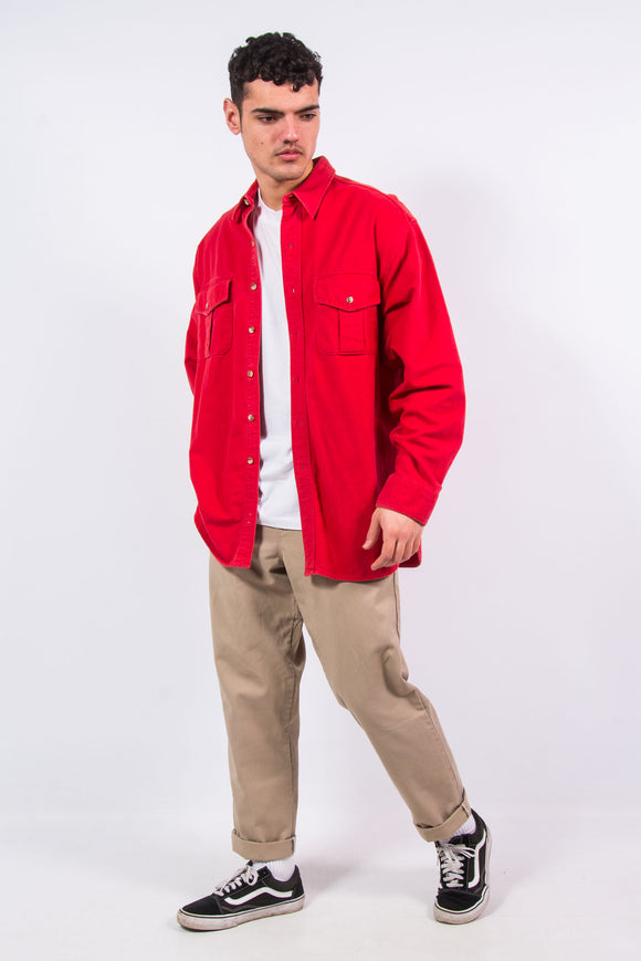 Vintage Plain Red Thick Flannel Shirt