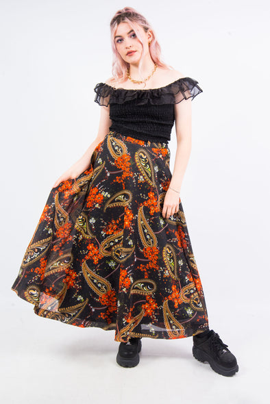 Vintage 70's Floral Paisley Maxi Skirt