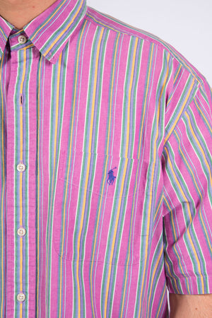 Vintage Ralph Lauren striped pattern short sleeve shirt