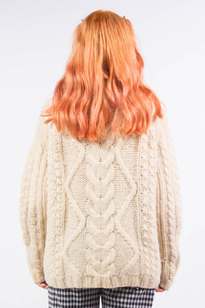 Vintage  Cream Fishermans Knit Wool Jumper